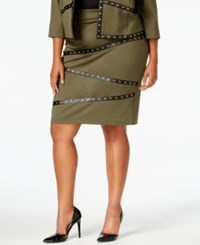 Mblm By Tess Holliday Trendy Plus Size Studded Pencil Skirt Grape Leaf