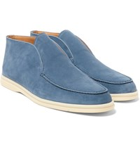 Loro Piana Open Walk Suede Loafers Blue