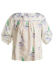 Thierry Colson Rock The Boat Silk Top Blue Multi
