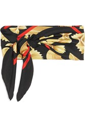 Dolce And Gabbana Printed Silk Twill Scarf Black