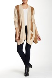 Loveriche Cable Knit Long Cardigan Beige