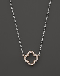 Bloomingdale's Diamond Clover Pendant Necklace In 14K Rose And White Gold .10 Ct. T.W. Pink