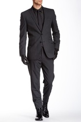 Ben Sherman Kings Fit Charcoal Solid Peak Lapel Two Button Wool Suit Gray