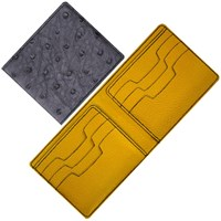Maison Takuya African Ostrich Wallet Gray Yellow