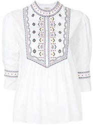 Talitha Embroidered Willow Top White