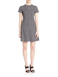 Theory Apalia Tweed Twill Crepe A Line Dress Black White