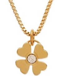 Kate Spade New York Gold Tone Crystal Four Leaf Clover Pendant Necklace