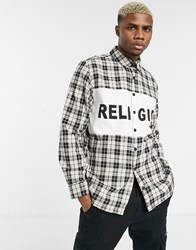 Religion Check Shirt With Logo Panel In White Black