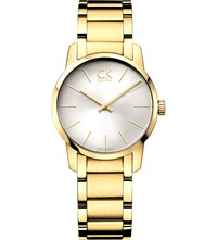 Calvin Klein K2g23546 City Yellow Gold Plated Watch Silver