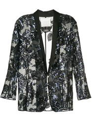 Ingie Paris Sequin Embroidered Blazer Black