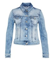 Hallhuber Distressed Denim Jacket Mid Blue