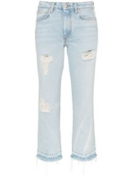 Heron Preston Mid Rise Distressed Cropped Jeans Blue