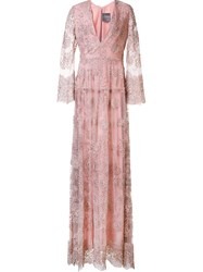 Monique Lhuillier Embroidered Tulle Gown Pink Purple