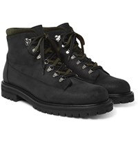 Mr P. Jacques Shearling Lined Waterproof Waxed Suede And Full Grain Leather Boots Black