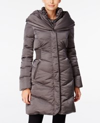 Tahari Pillow Collar Hooded Puffer Coat Legend Grey