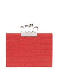 Alexander Mcqueen Knuckle Crocodile Effect Leather Clutch Red