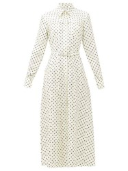 Gabriela Hearst Descartes Polka Dot Silk Twill Shirtdress Navy White