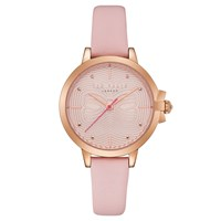 Ted Baker 'S Beth Bow Dial Leather Strap Watch Blush Te50280001