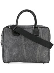 Etro Paisley Print Briefcase Men Cotton Polyester Polyurethane Pvc One Size Black