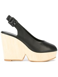 Robert Clergerie Sling Back Wedge Sandals Women Wood Calf Leather Leather Rubber 38 Black
