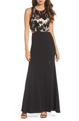 Sequin Hearts Women's Cutout Embellished Lace And Scuba Gown Black Champagne