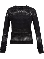 Derek Lam 10 Crosby Perforated Sweater Black
