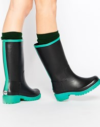 Juju Biker Contrast Wellies Black