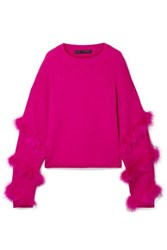 Sally Lapointe Feather Trimmed Silk And Cashmere Blend Sweater Fuchsia