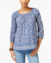 American Living Printed Peasant Blouse Only At Macy's Blue Pearl