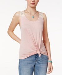 Rebellious One Juniors' Crochet Back Tank Top Dusty Pink