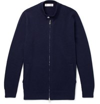 Brunello Cucinelli Cashmere Zip Up Cardigan Navy