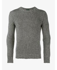 Incotex Wool Yak Blend Chunky Knit Sweater Grey Denim