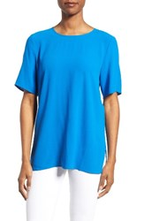 Eileen Fisher Women's Silk Crepe Round Neck Boxy Top