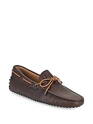 Tod's Leather Tie Moccasins Brown