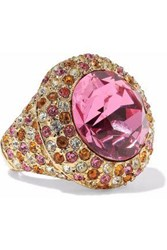 Kenneth Jay Lane Woman Gold Tone Crystal Ring Pink