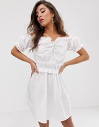 Prettylittlething Milk Maid Bardot Dress With Lace Up In White