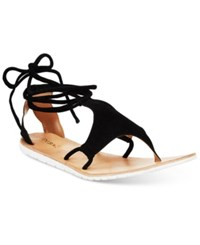 Diba True Strappy Gladiator Flat Sandals Women's Shoes Black Sued