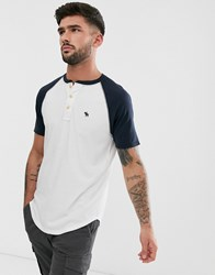 Abercrombie And Fitch Icon Logo Henley Baseball T Shirt In White Navy