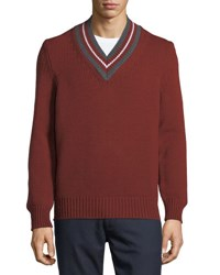 Zegna Sport Stripe Neck Wool Sweater Brown