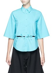 Chictopia Ribbon Tie Cutout Short Sleeve Shirt Blue