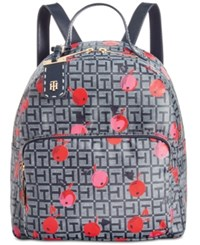 Tommy Hilfiger Julia Cherry Coated Jacquard Small Dome Backpack Navy White