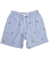 Hackett Seersucker Embroidered Anchor Striped Fabric Swim Shorts