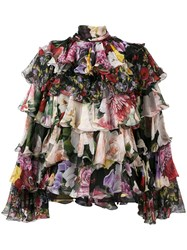 Dolce And Gabbana Tiered Floral Blouse Black