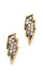 Marc Jacobs Mj Coin Lightning Stud Earrings Crystal Gold