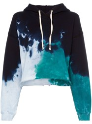 Re Done Tie Dye Cotton Cropped Hoodie Blue