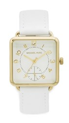 Michael Kors Brenner Leather Watch Gold White