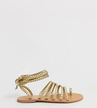 London Rebel Wide Fit Tie Leg Flat Sandals Gold