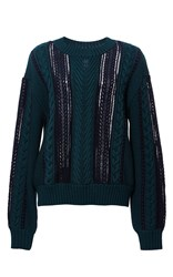 Sea Lace Insert Pullover Green