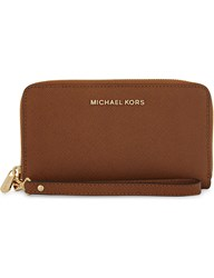 Michael Michael Kors Jet Set Travel Large Flat Embossed Leather Phone Wallet Luggage