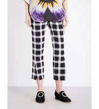 Christopher Kane Check Pattern Cropped High Rise Trousers Black White